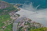 Aurland town from Stegastein lookout, Norway.