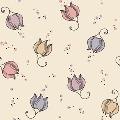 Romantic floral seamless pattern with hand drawn flowers
