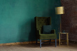 Interior of the living room with an armchair and a floor lamp - 140177396