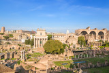 Rome, Italy. Ruins of Roman Forum: Temple of Deified Julius, Temple of Vesta, House of Vestals, Temple of Antoninus and Faustina, Temple of Romulus, Basilica of Maxentius