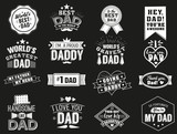 The variety of black and white dad signs. Isolated Happy fathers day quotes on the black background. Daddy congratulation label, badge vector collection. Mustache, hat, stars elements for your design. - 140183728