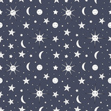Children seamless pattern of night sky with sun, moon and stars