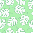 Cotton fabric Seamless pattern tropical monstera leaves vector floral  background . Silhouette palm leaves on mint background. Nature texture. Wrapping paper. Hand drawn flat . Summer.