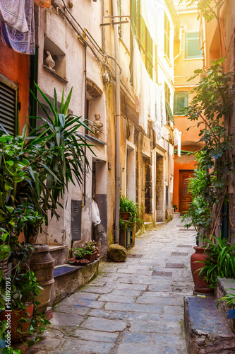 Old stone street in Vernazza, Cinque Terre, Italy.
