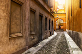 Old narrow colorful street in Italy.