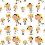 Seamless background with boy in many actions