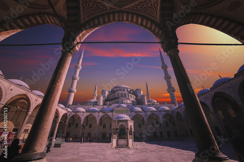Poster Istanbul, Turkey - March 04, 2017: View of Sultanahmet Mosque, built by Sinan th