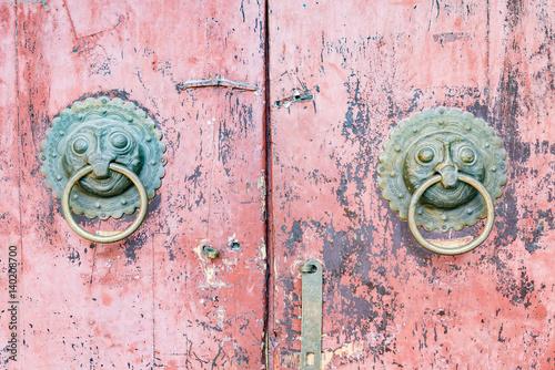 Metal door knocker. Poster