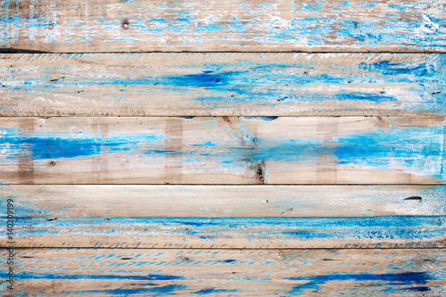 Old wooden background with blue paint. vintage wood texture from beach in summer. - 140209199