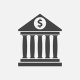 Bank building icon with dollar sign in flat style. Museum vector illustration on white background. - 140220139
