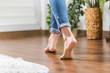 Leinwanddruck Bild - Warm floor - the concept of floor heating and wooden panels.