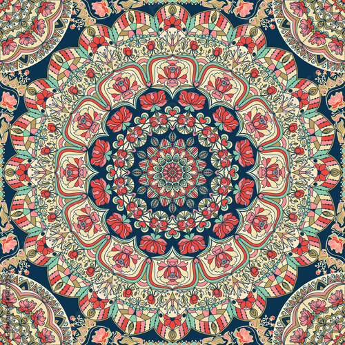 Seamless abstract colorful patchwork pattern. Vintage decorative elements.  - 140222555