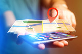 Concept of finding a place on an online map - Technology concept