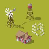 Traditional Vintage Red Farm. Vector isometric 3d