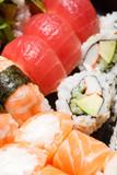 Set of sushi macro shot. Japanese food