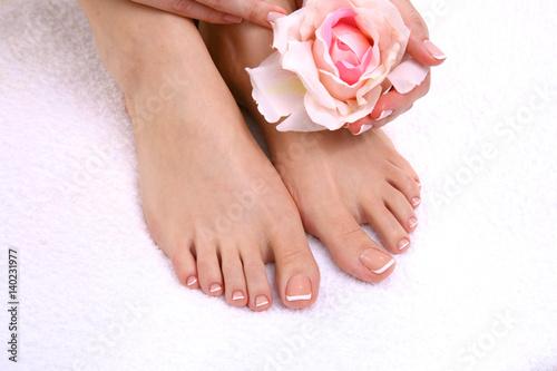 Deurstickers Pedicure Closeup photo of a beautiful female feet with pedicure