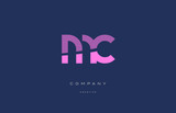 mc m c  pink blue alphabet letter logo icon - 140243913