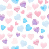 Seamless watercolor pattern with colorful hearts - pink, purple, blue tints. - 140243980