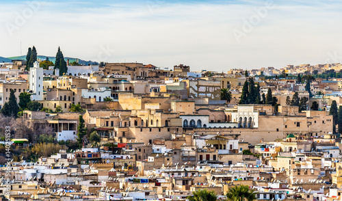 Panorama of Old Medina in Fes, Morocco, Africa