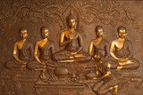 Detail at the base of the Sitting Buddha in the Wihan of Wat Pa Phu Kon,Thailand.