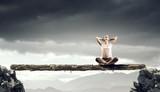 Girl practicing yoga . Mixed media