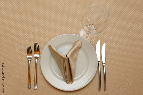 the table setting in restaurant closeup
