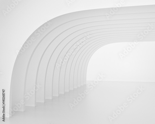 White arch-shaped tunnel. 3d render
