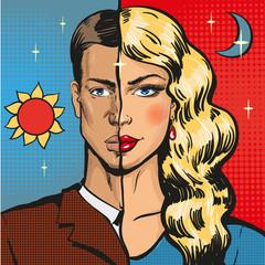 Vector pop art illustration of male wearing feminine clothing