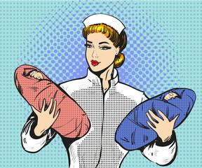 Vector pop art illustration of maternity nurse with twins
