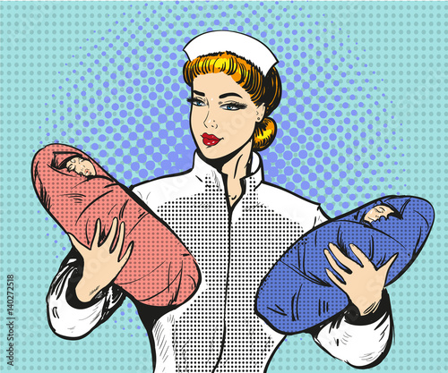 Vector pop art illustration of maternity nurse with twins