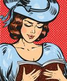 Pop art - młoda kobieta czytająca książkę