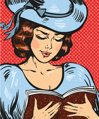 Vector pop art illustration of young woman reading book