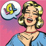 Vector pop art illustration of laughing out loud woman