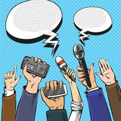Vector pop art illustration of reporters hands with microphones