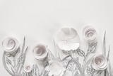 3d Papierowe kwiaty z malowanymi liściami i łodygami