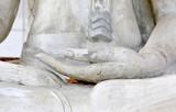 Close up hands of buddha statue