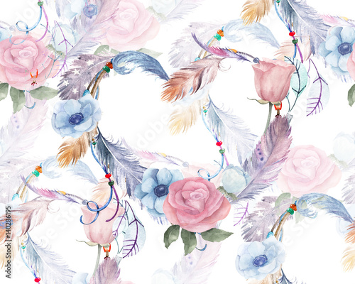 Watercolor floral seamless pattern with hearts, feathers - 140286195