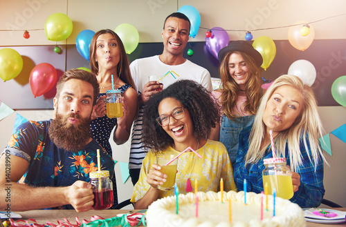 Poster Six diverse group of friends at party