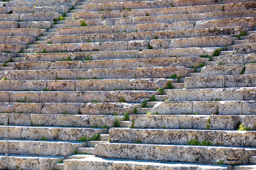 photo of old damaged stairs of ruined temple in Greece close up