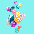 Composition of 3D Easter eggs. Holiday background. - 140300732