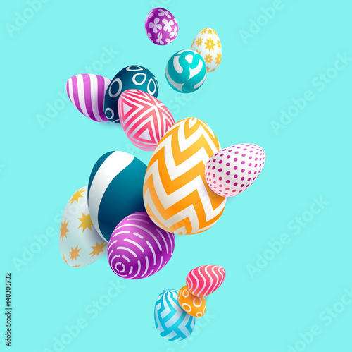 Composition of 3D Easter eggs. Holiday background.