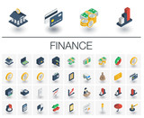 Fototapety Isometric flat icon set. 3d vector colorful illustration with banking and finance symbols. Credit card, wallet, coin, safe, money bag, cash, dollar, euro, pound colorful pictogram Isolated on white