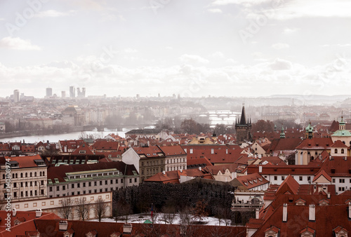 Poster panoramic view at Prague red roofs