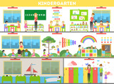 Kindergarten interior set. Preshool for children. Playing and learning.