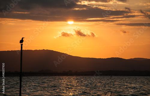 Papiers peints Orange eclat A beautiful bright sunset on the Black Sea. Sozopol, Bulgaria.