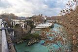 Bridge over the Tiber River in Rome, Italy