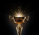 Champion golden trophy on black background - 140325792