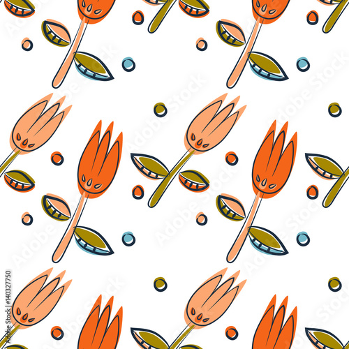 Floral seamless pattern as Scandinavian textile design. Field of tulips