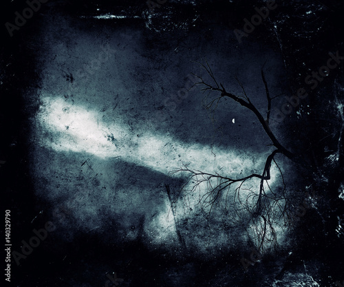 Foto op Aluminium Betoverde Bos Spooky landscape with scary tree. Dark nature wallpaper.