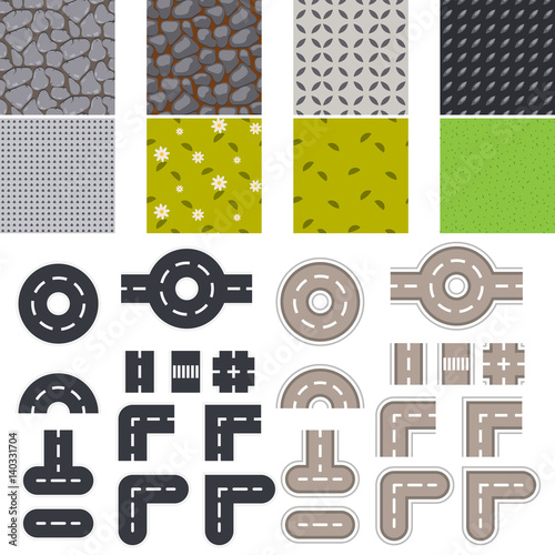 Landscape seamless tiles and road vector set.